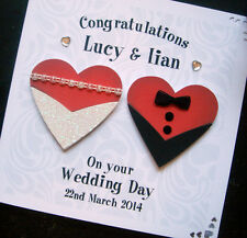 Hand-Made Personalised Wedding 'Hearts' Card (both or same sex wedding)
