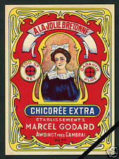 French Vintage Advertising Label: Chicoree Extra A La Jolie Bretonne  France