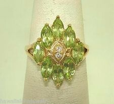 14k Yellow Gold 1.53Cts Marquise Peridot 0.02Cts Diamond Ring 6.5