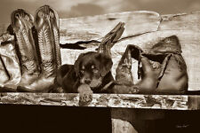 DOG ART PRINT - Big Foot by Barry Hart 11x14 Cowboy Boots Western Photo Poster