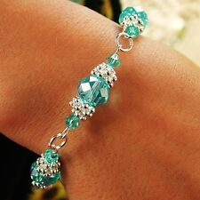N / FLOWER BRACELET KIT 10MM AQUAMARINE CRYSTAL RONDELLE BEADS SILVER