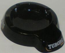 ASHTRAY GLASS TUBORG GOLD BLACK CIGARETTE CIGAR SMALL CHIP INNER EDGE BUT NICE