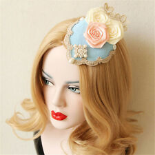 Luxurious Lady Vintage Rose Flower Lace Pearl Fascinator Hat Hair Clip Accessory