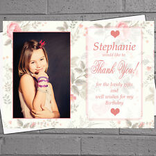 Personalised Girls Photo Rose BG Present Thank You Message Cards x 12 H1175