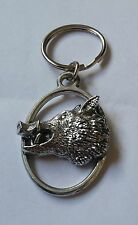 Fine English Pewter Wild Boar Head Keyring Key Chain Pig