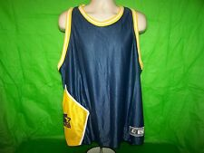 Vtg 90s STARTER Basketball Jersey LARGE Blue/Yellow NYLON Michigan West Virginia