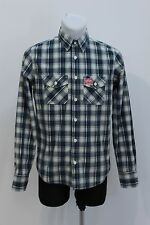MENS SUPERDRY CASUAL SHIRT LONG SLEEVED BLUE CHECKED SIZE M MEDIUM EXC