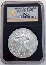 2015 W Burnished Silver Eagle First Day of Issue Retro Black Core ~ Ngc Ms 70