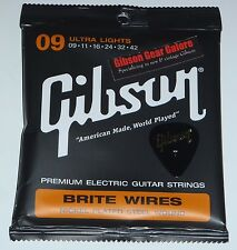Gibson Les Paul Brite Wires Nickel Guitar Strings Set 9 / 42 Parts SG V R9 Light