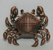 Black Eye Sand Crab Copper Tone Animal Pin Brooch Beach Costume Jewelry