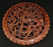CHINA HAND WORK OLD  XIANG ZHANG SCULPTOR WOOD CARVED DRAGON WALL PANEL NR 1!