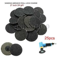 25 Pcs 3'' Sanding Abrasive Discs R Type 24Grit For Roloc Roll Lock Coarse Tool
