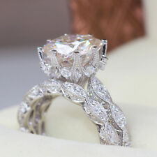 Vintage 3ct Round White CZ 925 Sterling Silver Wedding Engagement Ring Set Sz 7
