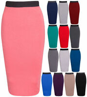 Ladies Plain Office Womens Stretch Bodycon Midi Pencil Skirt Fit Tube Size 8-14
