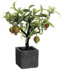 "14"" ARTIFICIAL POMEGRANATE TREE IN CEMENT POT (RED GREEN)"