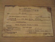 RARE 1945 WWII Casualty Branch Postcard~SHELL FRAGMENT WOUNDS~