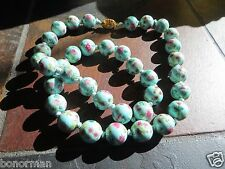 Antique Art Deco Chinese Turquoise  Floral Pekin Glass Cloisonne Bead Necklace