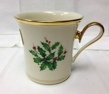 "LENOX ""HOLIDAY"" HOLLY MUG 3 1/2"" HIGH, IVORY BONE CHINA NEW MADE IN U.S.A."