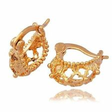 Girls Yellow Gold Plated Huggie Hoop Earrings Free Shipping Childrens Jewelry