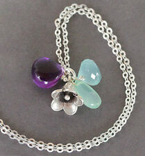 U& Sundance Amethyst Blue Mint Green Chalcedony 925 Silver Flower Chain Necklace