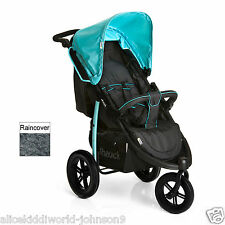 New Hauck Viper SLX 3 wheeler pram pushchair Caviar Black/Capri Blue+Raincover