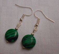 Unique handmade green malachite silver plated earrings with free rubber stoppers