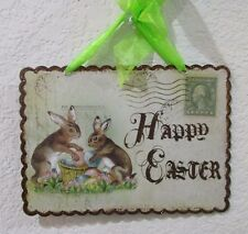 Primitive Vintage Style Easter Rabbit Hanging Metal Sign Decoration HAPPY EASTER
