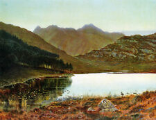 Hand painted oil painting John Atkinson - Mountains landscape with bird by river
