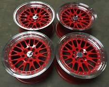 "15"" AVID1 AV12 RED POLISHED ALLOY WHEELS 4X100 BMW 3 SERIES E30 & HONDA CRX"