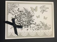 "Stampin Up Card Kit Set Of 4 ""Thank You"" Grey Bloom"