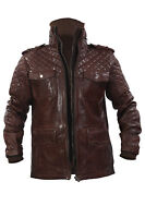 Infinity New Men's Casual 100% Sheepskin Brown Quilted Slim Fit Leather Jacket