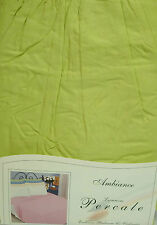 DOUBLE BED FITTED VALANCE SHEET LIME GREEN 180 THREAD COUNT PERCALE POLYCOTTON