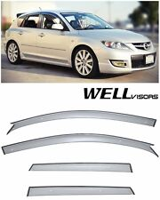 WellVisors Clip On Smoke Tinted Side Window Visors For 04-09 Mazda 3 Hatchback