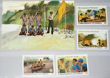 Dominica 1982 791-94 Block 78 777-81 Boy Scouts Pfadfinder 75th Ann Canoeing MNH