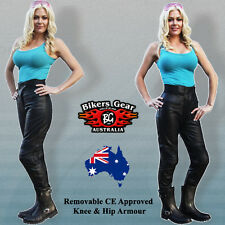 NEW LADYS SOFTEST LEATHER MOTORCYCLE TOURING PANTS CE ARMOUR COMFORT FIT SIZE 14