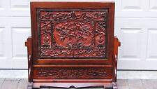 "ANTIQUE 19C CHINESE ROSEWOOD HAND CARVED TABLE SCREEN PLAQUE""VASES,BIRDS,FLOWERS"