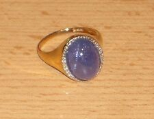 Harry Ivens Ring GG 375 mit Tansanit und 6 Diamanten Gr 19