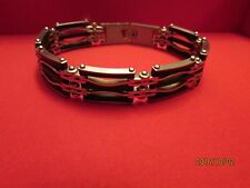 Mens~STAINLESS STEEL~Link~Chain Rubber~Bicycle~Biker~Bracelet~Cuff~Wristband