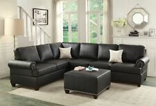 Black Bonded Leather 2pc Sectional Sofa Set Reversible Loveseat Sofa Couch
