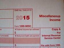 2015: 5=1099-MISC Miscellaneous Income IRS Tax Sheets & 3=1096 Transmittal Forms