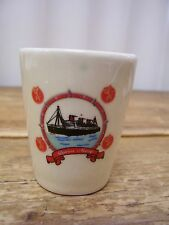 Queen Mary Boat Ocean Liner Ceramic Shot Glass Bar Barware Vintage