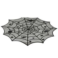 SPIDER WEB LACE TABLE TOPPER 40 inches Halloween Decor Goth Mantle Top Fabric