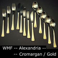 WMF Alexandria - Cromargan_Gold - 13 Teile Besteck, 5 Messer, 3 Gabeln, 5 Löffel
