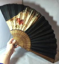 Vintage Antique French Large Hand Fan Hand Painted Silk Embroidery