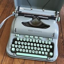 Vintage 1960s Typewriter Hermes 3000 Sea Foam Green Working Cursive Script