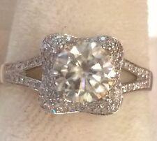 $1800 ! 1.20CTW  Natural Diamonds & Moissanite  Engagement Ring 10k White Gold
