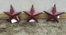 "Set of 3 )Burgundy BLACK BARN STARS 3.5"" PRIMITIVE COUNTRY DECOR FREE SHIPPING"