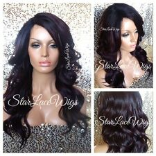 Long Lace Front Wig Dark Burgundy Black Mixed Body Wave Layer Heat Safe Ok