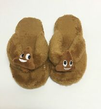 NEW EMOJI BROWN SMILEY FACE,SMILING POOP SOFT FABRIC SLIPPERS,SANDALS-SIZE 5-6