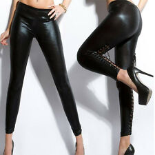 Wet Look Lace Tie Up Faux Leather Leggings Sexy Slim Skinny Lady Stretchy Pants